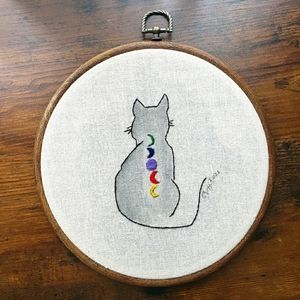 Handmade (by me) Celestial Embroidered Cat Art